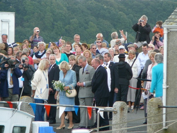 Crowd gather on St Mawes Quay